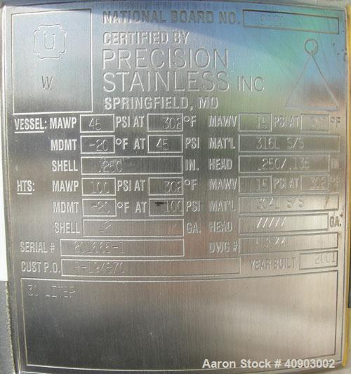 """Used- Precision Stainless Reactor, approximately 8 gallon (30 liter). 316 L stainless steel, vertical.  12"""" diameter x 18"""" s..."""