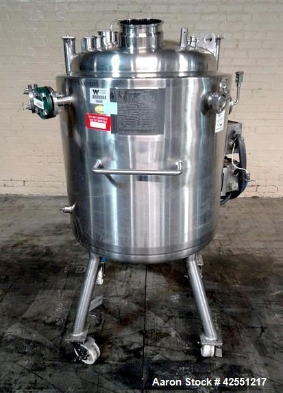 """Used- Precision Reactor Body, 200 Liter (52.8 Gallon), 316L Stainless Steel. 24"""" Diameter x 24"""" straight side. Dished top an..."""