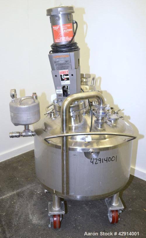 "Used- Precision Stainless Reactor, 44 Gallon, 316L Stainless Steel, Vertical. 27"" Diameter x 14"" straight side, dished top a..."