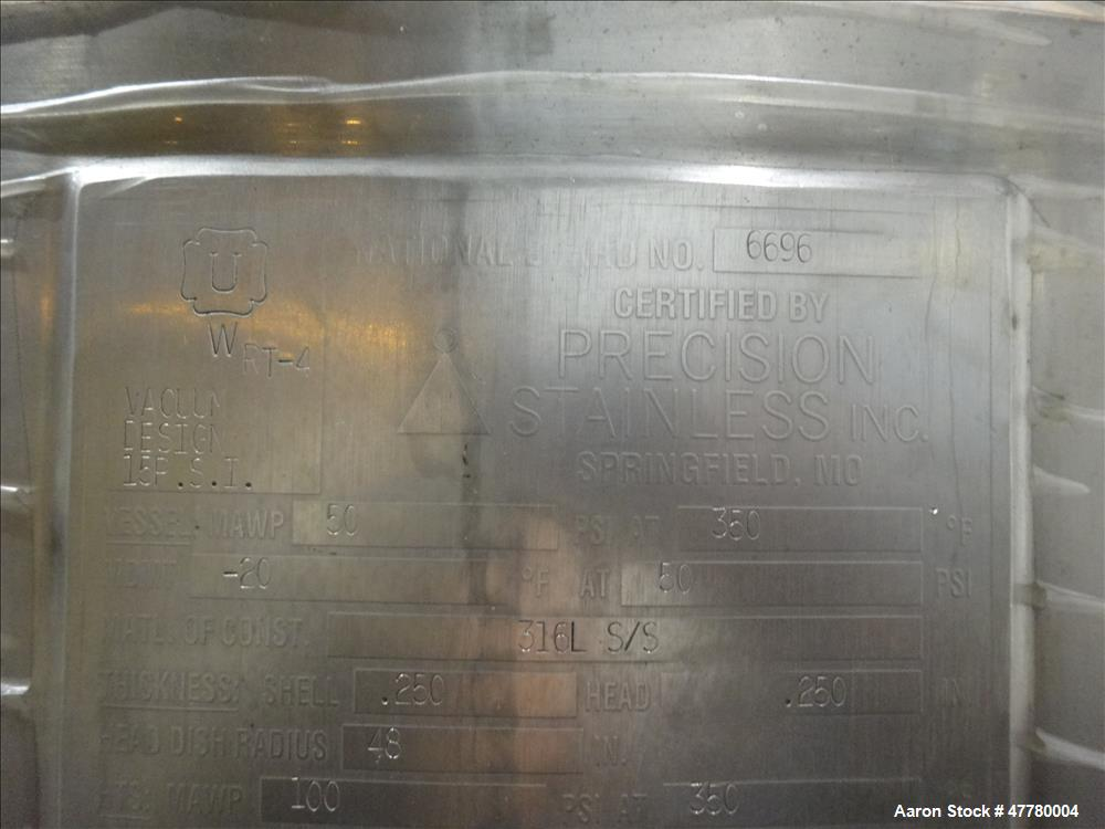 Used- Precision Stainless Reactor, 1400 Liter (369 Gallon), 316L Stainless Steel