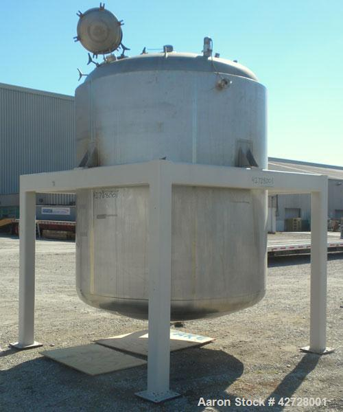 """Used- Precision Stainless Reactor, 2250 Gallon (8703 Liter), 316L Stainless Steel, Vertical. 84"""" Diameter x 86"""" straight sid..."""