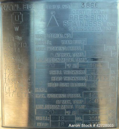 """Used- Precision Stainless Reactor, 277 Liter (73 Gallon), 316L Stainless Steel, Vertical. 24"""" Diameter x 36"""" straight side. ..."""