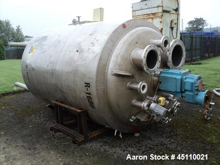 Used- 4,000 Litre Stainless Steel PSV Vertical Reactor