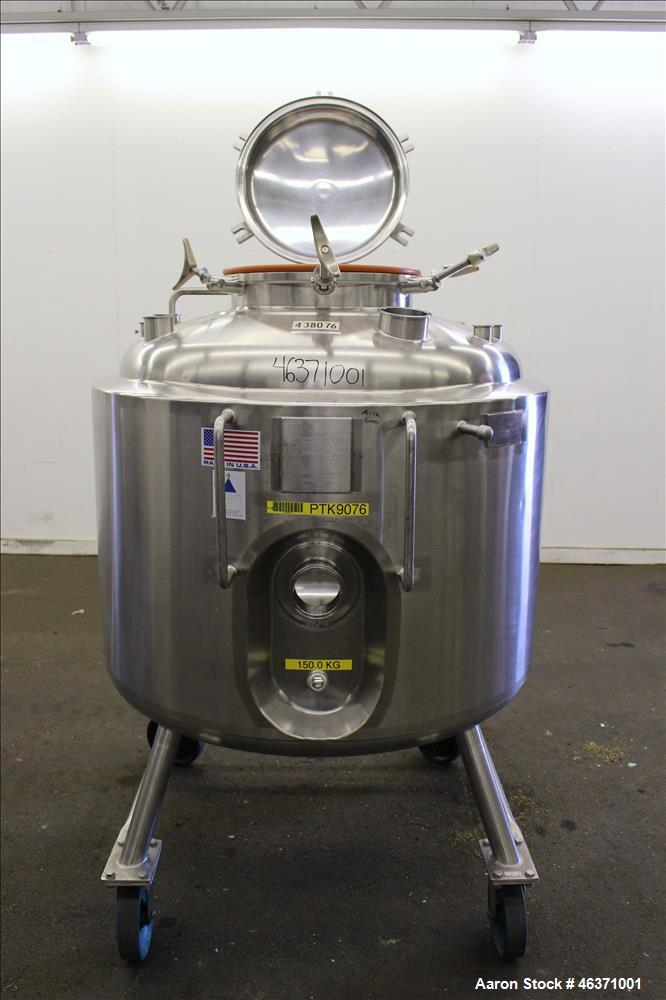 "Used- Precision Stainless Reactor, 600 Liter (158.50 Gallon), 316L Stainless Steel, Vertical. 40"" Diameter x 24"" straight si..."