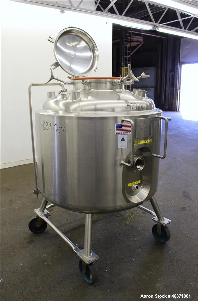 """Used- Precision Stainless Reactor, 600 Liter (158.50 Gallon), 316L Stainless Steel, Vertical. 40"""" Diameter x 24"""" straight si..."""