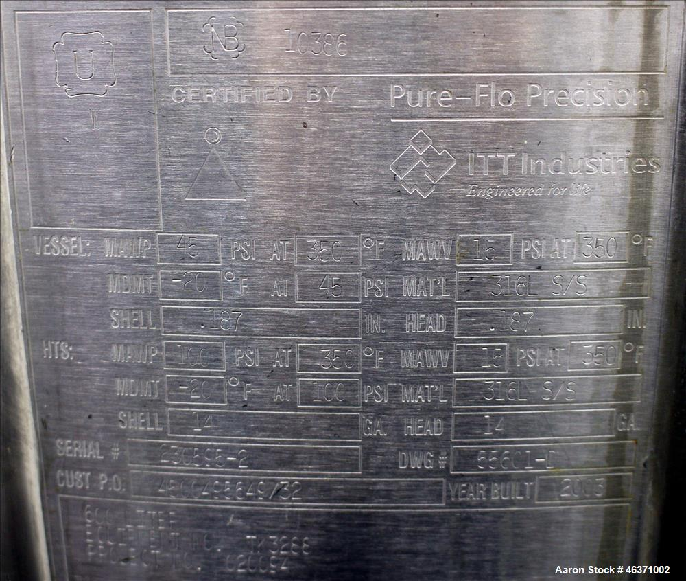 """Used- Pure-Flo Precision Reactor, 600 Liter (158.50 Gallon), 316L Stainless Steel, Vertical. 36"""" Diameter x 32"""" straight sid..."""