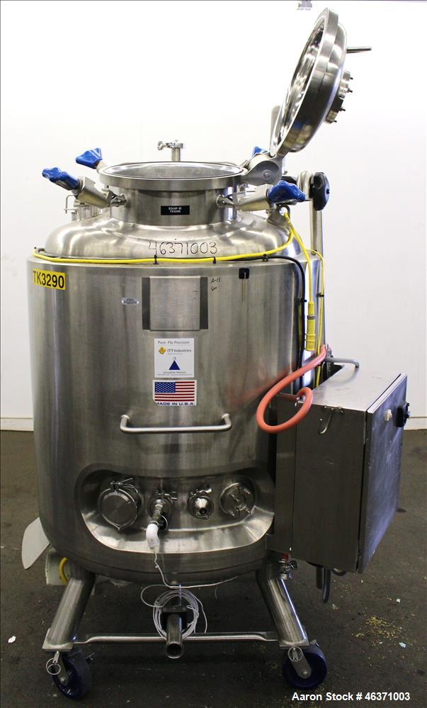 "Used- Pure-Flo Precision Reactor, 600 Liter (158.50 Gallon), 316L Stainless Steel, Vertical. 36"" Diameter x 32"" straight sid..."