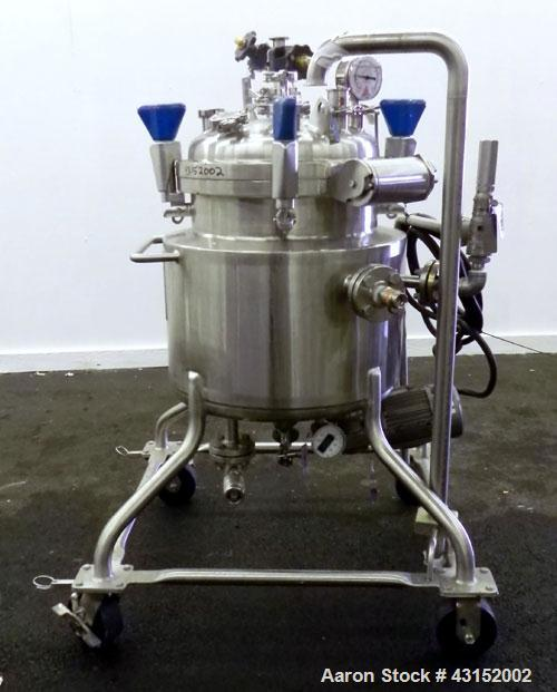 "Used- Pure-Flo Precision Reactor, 50 Liter (13.21 Gallon), 316L Stainless Steel, Vertical. 16-1/2"" Diameter x 16"" straight s..."