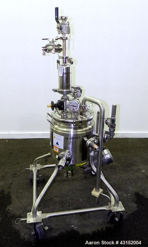 """Used- Pure-Flo Precision Reactor, 10 Liter (2.64 Gallon), 316L Stainless Steel, Vertical. 10-1/2"""" Diameter x 11-1/2"""" straigh..."""