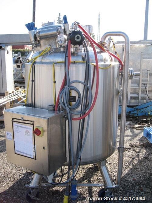 "Used- Pure Flo Reactor, 600 Liter (158 Gallon), 316L Stainless Steel Construction. 36"" Diameter x 44"" straight side, dish to..."