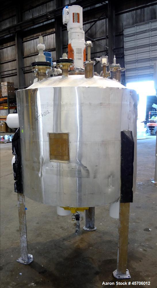 "Used- R.A.S. Process Equipment Teflon Lined Reactor, 275 Gallon, 316L Stainless Steel, Vertical. Approximate 42"" diameter x ..."