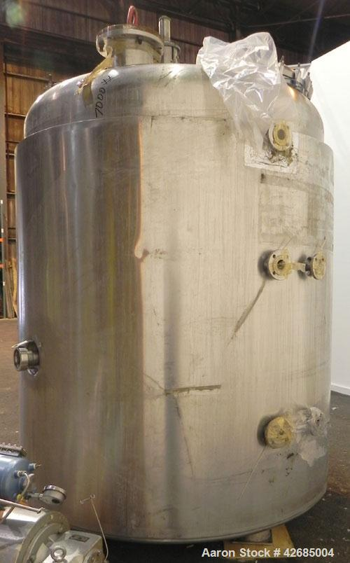 Used- Ritter Reactor, 8040 Liter (2124 Gallon), 316 Stainless Steel, Vertical. Approximately 84'' Diameter x 84'' straight s...