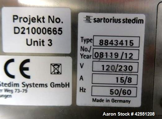 Used- Sartorius Stedim Biostat B lab fermenter system consisting of, One (1) Biostat B twin version configuration controller...