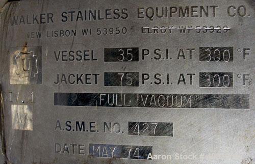 "Used-  Walker Stainless Reactor, Model SP-4717, 1500 Gallon, 304 Stainless Steel, Vertical.  74"" diameter x 82"" straight sid..."