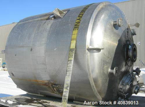 "Used-  Walker Stainless Reactor, Model SP-6181,1500 Gallon, 316 Stainless Steel, Vertical.  74"" diameter x 82"" straight side..."