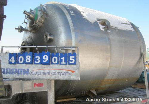 "Used- Walker Stainless Reactor, Model SP-6375,1500 Gallon, 316 Stainless Steel, Vertical. 74"" diameter x 82"" straight side. ..."