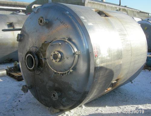 "Used-  Walker Stainless Reactor, Model SP-6375,1500 Gallon, 316 Stainless Steel, Vertical.  74"" diameter x 82"" straight side..."