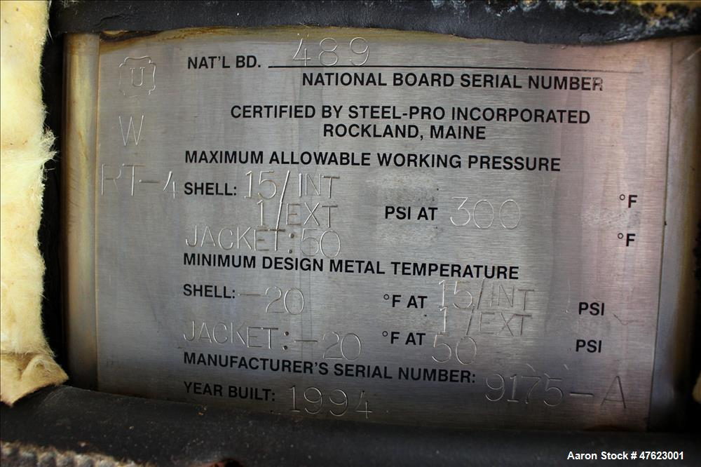Used- Steel-Pro Inc. Reactor, Approximate 10,000 Gallon, 304 Stainless Steel, Ve
