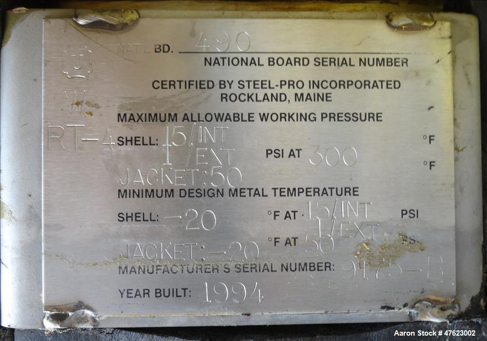 Used- Steel-Pro Inc. Reactor, Approximate 10,000 Gallon, 304 Stainless Steel
