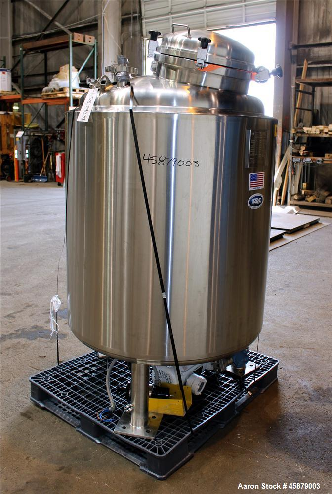 "Used- T&C Stainless Reactor, 800 Liter (211 Gallon), 316L Stainless Steel, Vertical. Approximately 38"" diameter x 46"" straig..."