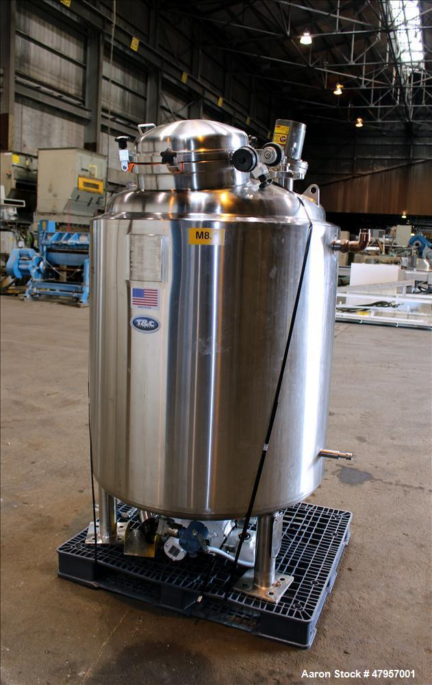 """Used- T&C Stainless Reactor, 800 Liter (211 Gallon). 316L Stainless steel, vertical. Approximately 38"""" diameter x 46"""" straig..."""