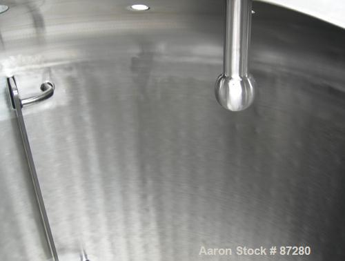 """USED- T&C Stainless Reactor, 1000 Liter (264 Gallon), 316L Stainless Steel, Vertical. 40"""" diameter x 48"""" straight side. Dish..."""