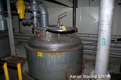 """USED: Tolan reactor, 1350 gallon, 304 stainless steel, vertical. 66"""" diameter x 84"""" straight side, dished top and bottom. #4..."""