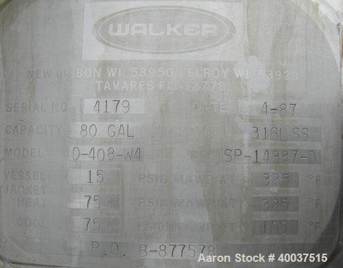"Used- Walker reactor, 80 gallon, model D-408-4W, 316L stainless steel, vertical. Approximately 29 1/2"" diameter x 24"" straig..."