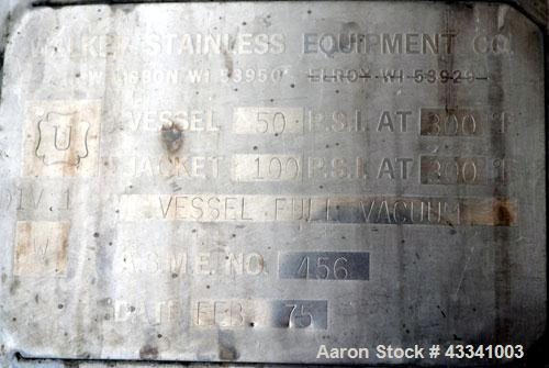 "Used- Walker Stainless Reactor, 700 Gallon, Model SP-6100, 316 Stainless Steel, Vertical. 54"" Diameter x 68"" straight side, ..."