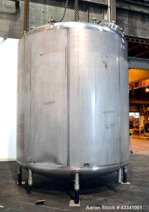 """Used- Walker Stainless Reactor, 4500 Gallon, 316 Stainless Steel, Vertical. 108"""" Diameter x 108"""" straight side, dished top a..."""