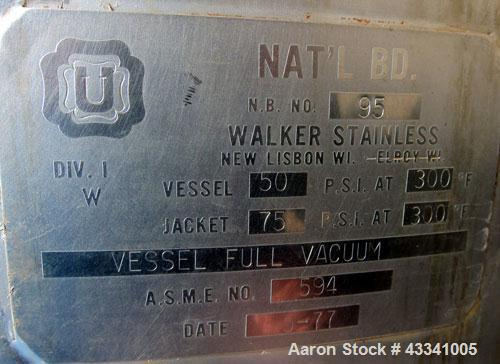 "Used- Walker Stainless Reactor, 1000 Gallon, Model SP-7184, 316 Stainless Steel, Vertical. 54"" Diameter x 96"" straight side,..."