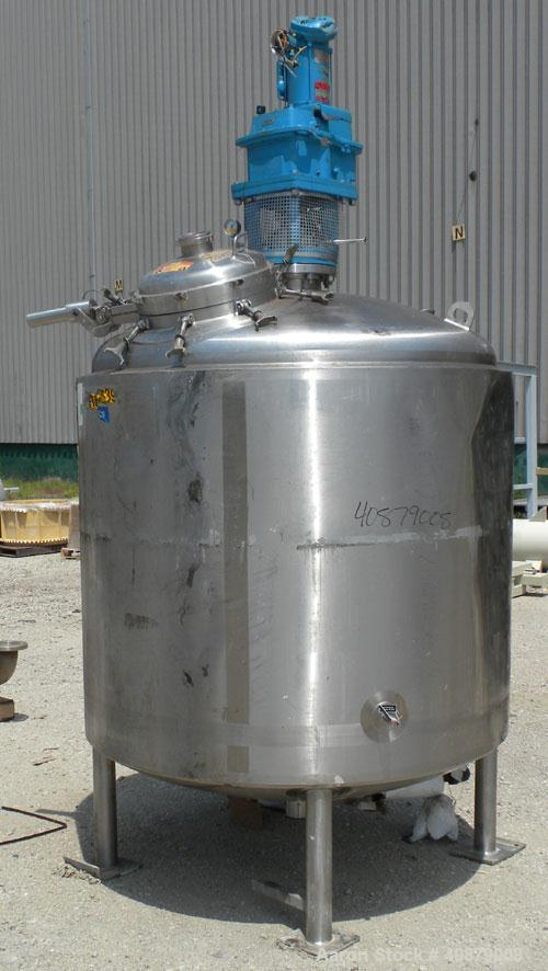 "Used- Walker Stainless Reactor, 600 Gallon, 316L Stainless Steel, Vertical. 60"" diameter x 48"" straight side, dish top and b..."