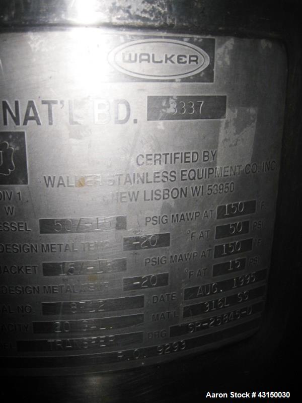 Used- 20 Gallon Stainless Steel Walker Reactor