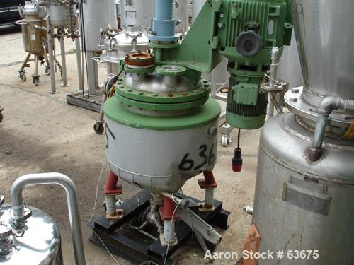 """Used- Walter Stocklin Reactor, 23 Gallon, 316 Stainless Steel. 19.5"""" Diameter x 19.5"""" straight side, dished heads, 3/4 half ..."""