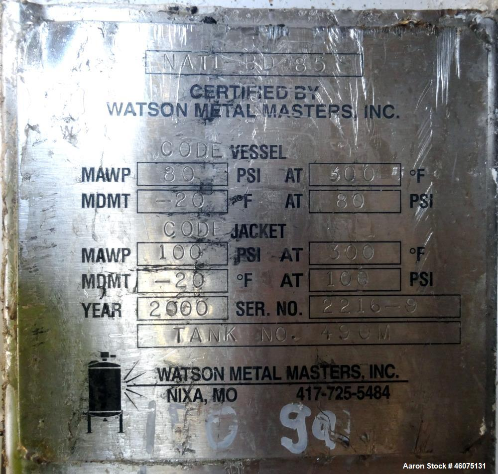 """Used- Watson Metal Masters Reactor, 150 Gallon, 316L Stainless Steel, Vertical. 34"""" Diameter x 35"""" straight side, dished top..."""