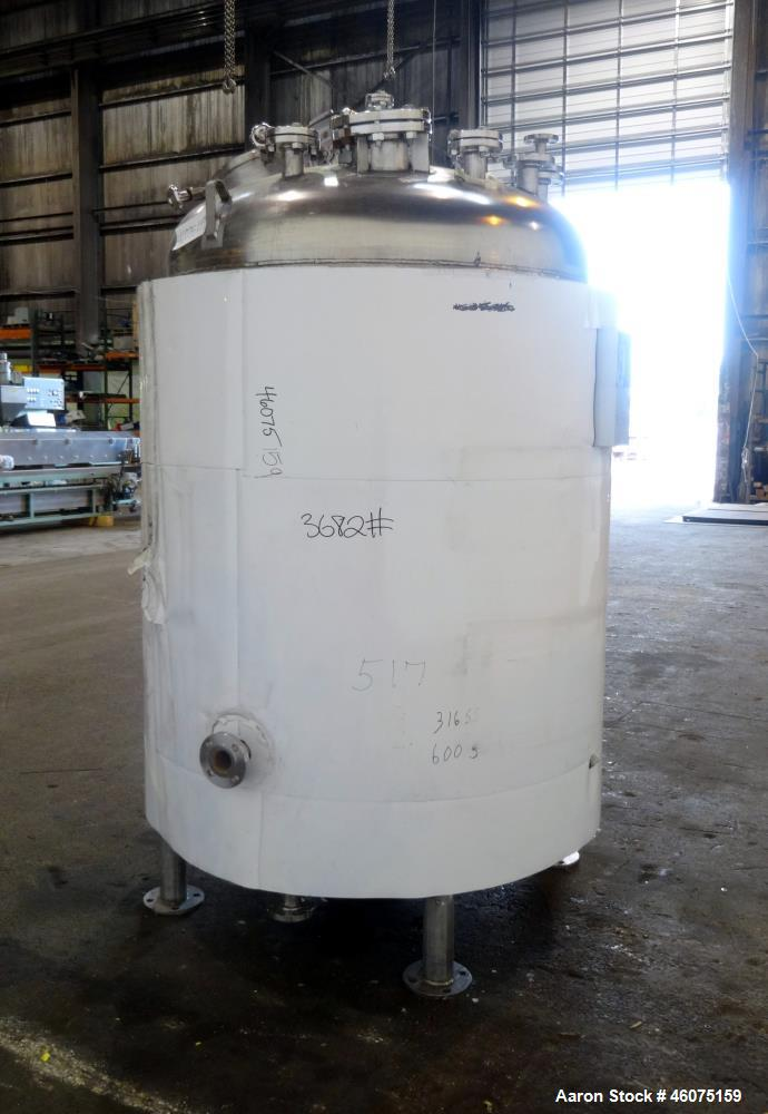 """Used- Watson Metal Masters Reactor, 600 Gallon, 316L Stainless Steel, Vertical. 52.25"""" Diameter x 51.50"""" straight side, dish..."""