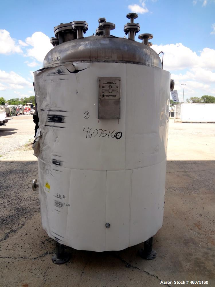 "Used- Watson Metal Masters Reactor, 600 Gallon, 316L Stainless Steel, Vertical. 52.25"" Diameter x 58"" straight side, dished ..."