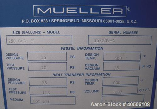 "Unused- Mueller Reactor, 250 Gallon, Model ""F"", SA-516 GR 70 carbon steel, vertical. 48'' diameter x 27'' straight side, 2:1..."