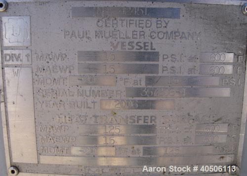 "Unused- Mueller Reactor, 250 Gallon, Model ""F"", SA-516 GR 70 carbon steel, vertical. 48'' diameter x 27'' straight side, 2:1..."