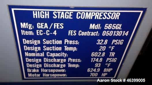 Used- GEA/FES Ammonia Screw Compressor, Model 565GL.