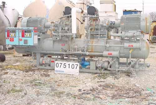 Used- FES Packaged Syltherm Chiller System Consisting Of: (2) FES rotary screw compressors, model 120E-120E. Approximatey 31...