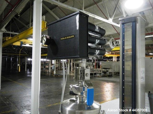 Used- Alexanderwerk roller compactor, model WP120X40, stainless steel construction, 120mm diameter x 40mm faced rolls, horiz...