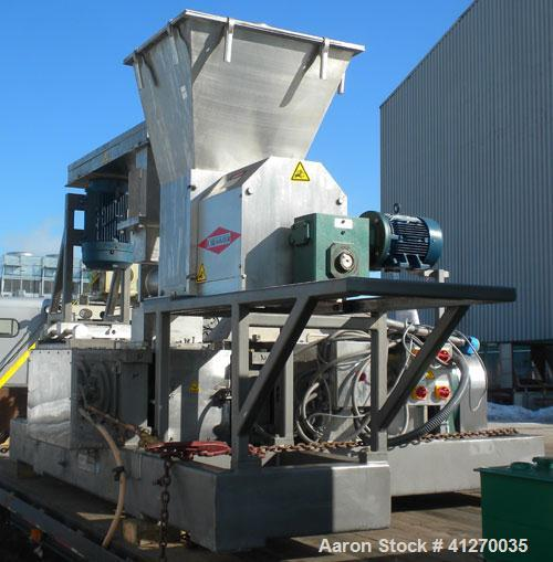 """Used- Fitzpatrick Chilsonator, Model 12LX12D. 12"""" diameter x 12"""" face 17-4 PH stainless steel Sine grooved style rolls, appr..."""