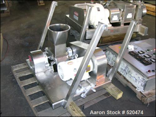 """USED: Fitzpatrick Chilsonator model 4LX10D. All stainless steel including base, guards, legs and panel. 10"""" diameter x 4"""" fa..."""