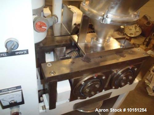 Used- Fitzpatrick chilsonator model DM 1.5LX8D. Stainless steel contact parts. Dual 3/1.5 HP main drive. 3/60/480 volts. 1.5...