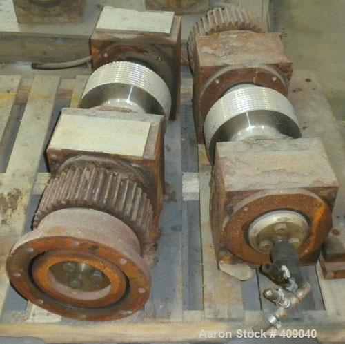 """Used- Fitzpatrick Chilsonator Rolls, (2) 10"""" diameter x 4"""" face sine grooved rolls, 15-5 PH Stainless Steel."""