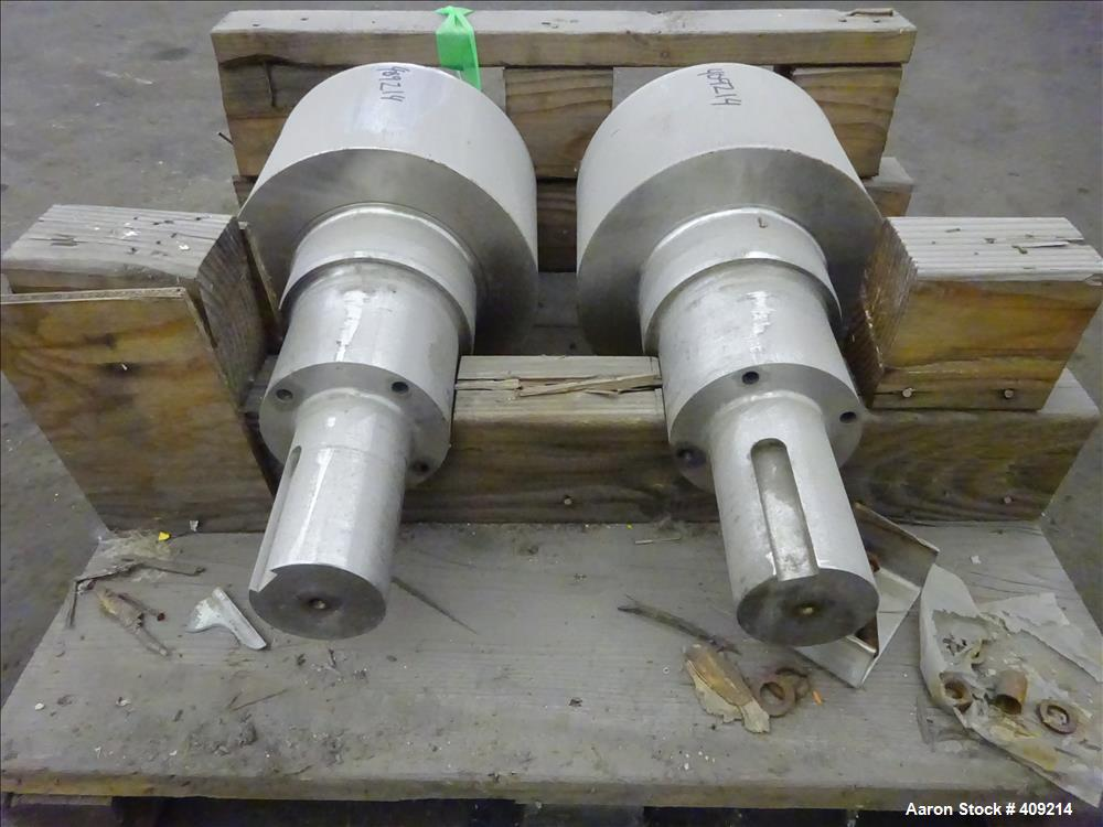 """Used- Fitzpatrick Chilsonator Rolls, 15-5PH Stainless Steel. Approximate 11"""" Diameter x 8-13/16"""" face. Serial number 911961A..."""