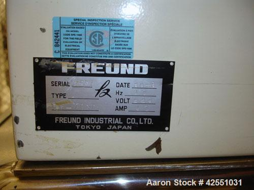 Used- Freund Roller Compactor, Model TF-MINI, stainless steel. 100 mm Roll diameter x 35 mm roll face width, grooved rolls w...
