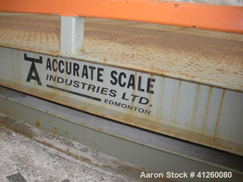 Used-Accurate Scale Industries Truck Scale, approximately 10' wide x 30' long. Above ground. Diamond plate platform.  Missin...