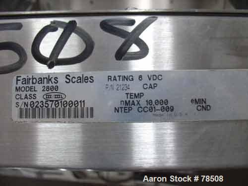 USED: Fairbanks digital scale, 5000 lb capacity, model 2800.Diamond plated base, 4' wide x 4' long, wall mounted digitalcont...